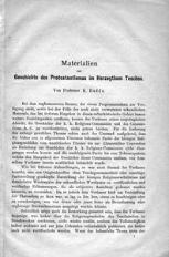 Materialien zur Geschichte des Protestantismus im Herzogthum Teschen