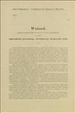Wniosek posła Z. Klemensiewicza i towarzyszy w sprawie zaprowadzenia powszechnego, obowiązkowego ubezpieczenia bydła