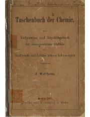 Taschenbuch der Chemie : ein Vademecum und Repetitionsbuch der anorganischen Chemie fur Studierende und Schuler hoherer Lehranstalten
