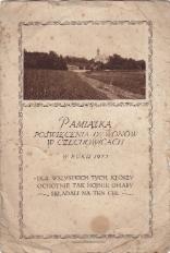 Pamiatka poświęcenia dzwonów w Czechowicach