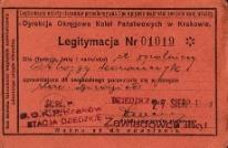 Legitymacja uprawniająca do swobodnego poruszania się w obrębie stacji Dziedzice 27.08.1939