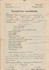Świadectwo uwolnienia 1915 r