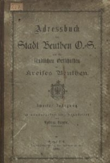 Adressbuch der Stadt Beuthen O.-S. und der ländlichen Ortschaften des Kreises Beuthen. 2. Jg.