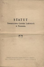Statut Towarzystwa Czytelni Ludowych w Poznaniu