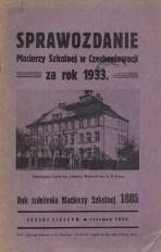Sprawozdanie Macierzy Szkolnej w Czechosłowacji, 1933