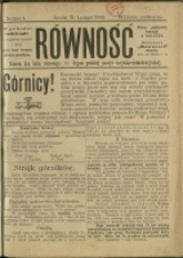 Równość : gazeta dla ludu roboczego : organ Polskiej Partyi Socyalno-Demokratycznej, 1900, Nry 1-24