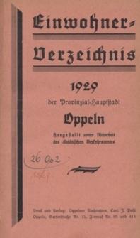 Einwohner-Verzeichnis der Provinzial-Hauptstadt Oppeln. 1929