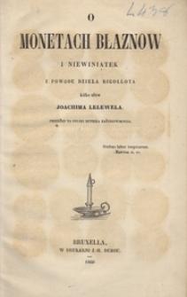 O monetach błaznów i niewiniątek z powodu dzieła Rigollota kilka słów Joachima Lelewela