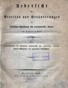 Uebersicht der Arbeiten und Veränderungen der schlesischen Gesellschaft für vaterländische Kultur im Jahre 1827
