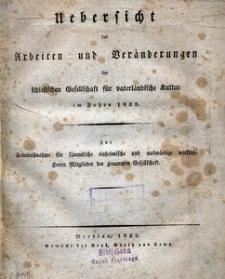 Uebersicht der Arbeiten und Veränderungen der schlesischen Gesellschaft für vaterländische Kultur im Jahre 1828