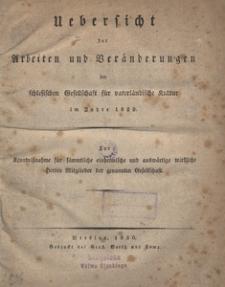 Uebersicht der Arbeiten und Veränderungen der schlesischen Gesellschaft für vaterländische Kultur im Jahre 1829
