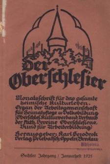 Der Oberschlesier, 1925, Jg. 7, [Nr 1]