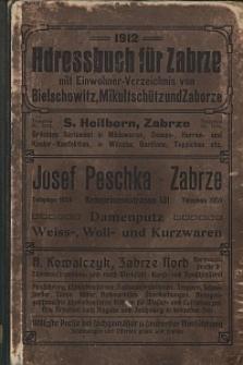Adressbuch für Zabrze 1912 mit Einwohner-Verzeichnissen von Bielschowitz, Mikultschütz und Zaborze