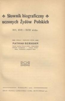 Słownik biograficzny uczonych Żydów polskich XVI, XVII i XVIII wieku