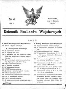 Dziennik Rozkazów Wojskowych, 1919, R. 2, nr 4