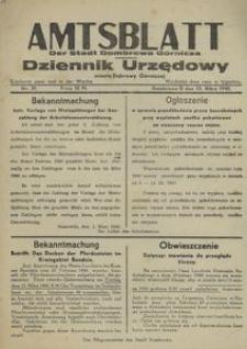 Amtsblatt der Stadt Dombrowa Górnicza = Dziennik Urzędowy miasta Dąbrowy Górniczej 1940, nr 31