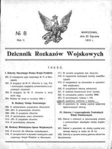 Dziennik Rozkazów Wojskowych, 1919, R. 2, nr 8