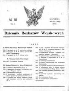 Dziennik Rozkazów Wojskowych, 1919, R. 2, nr 15