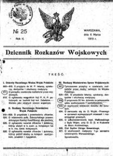 Dziennik Rozkazów Wojskowych, 1919, R. 2, nr 25