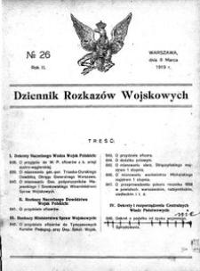 Dziennik Rozkazów Wojskowych, 1919, R. 2, nr 26