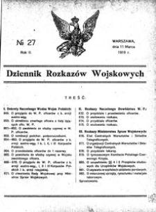 Dziennik Rozkazów Wojskowych, 1919, R. 2, nr 27