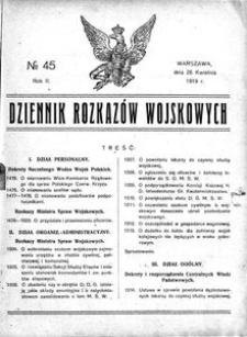 Dziennik Rozkazów Wojskowych, 1919, R. 2, nr 45