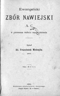 Ewangelicki zbór nawiejski a. c. w pierwszem stuleciu swego istnienia