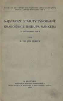 Najstarsze statuty synodalne krakowskiego biskupa Nankera z 2 października 1320 r.