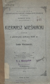 Kiermasz wieśniacki. Utwór pierwszej połowy XVII w.