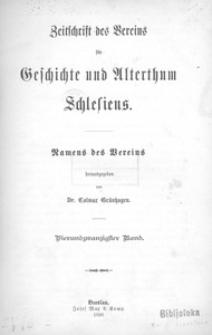 Zeitschrift des Vereins für Geschichte und Alterthum Schlesiens, 1890, Bd. 24