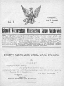 Dziennik Rozporządzeń Ministerstwa Spraw Wojskowych, 1918, R. 1, nr 7