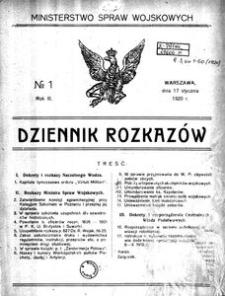 Dziennik Rozkazów, 1920, R. 3, nr 1