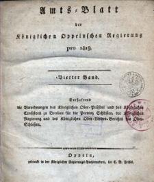 Amts-Blatt der Königlichen Oppelnschen Regierung pro 1819, 4. Bd.