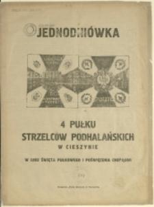 Jednodniówka 4 Pułku Strzelców Podhalańskich w Cieszynie : w dniu święta pułkowego i poświęcenia chorągwi, 1924 (5.10)