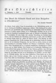 Der Oberschlesier, 1932, Jg. 14, Heft 11