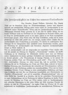 Der Oberschlesier, 1936, Jg. 18, Heft 2