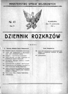Dziennik Rozkazów, 1921, R. 4, nr 41