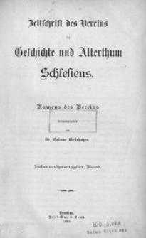 Zeitschrift des Vereins für Geschichte und Alterthum Schlesiens 1893, Bd. 27