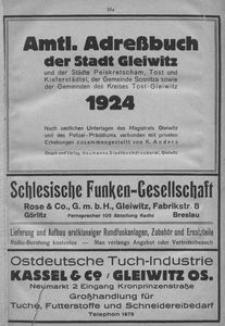Amtl. Adressbuch der Stadt Gleiwitz und der Städte Peiskretscham, Tost und Kieferstädtel, der Gemeinde Sosnitza sowie der Gemeinden des Kreises Tost-Gleiwitz 1924