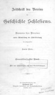 Zeitschrift des Vereins für Geschichte und Alterthum Schlesiens 1917, Bd. 51