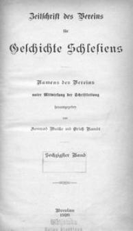 Zeitschrift des Vereins für Geschichte Schlesiens 1926, Bd. 60