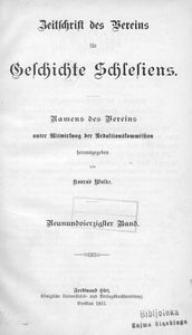 Zeitschrift des Vereins für Geschichte Schlesiens. Namens des Vereins unter Mitwirkung der Redaktionskommission, 1915, Bd. 49