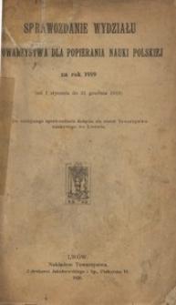 Sprawozdanie Wydziału Towarzystwa dla Popierania Nauki Polskiej za rok 1919