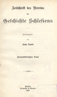 Zeitschrift des Vereins für Geschichte Schlesiens 1938, Bd. 72