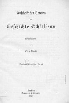 Zeitschrift des Vereins für Geschichte Schlesiens 1939, Bd. 73
