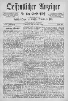 Oeffentlicher Anzeiger für den Kreis Pleß, 1882, Jg. 30, Nro. 42