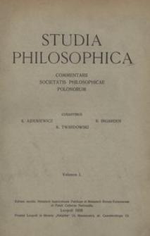 Studia Philosophica, vol. 1