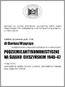 Podziemie antykomunistyczne na Śląsku Cieszyńskim 1945-1947