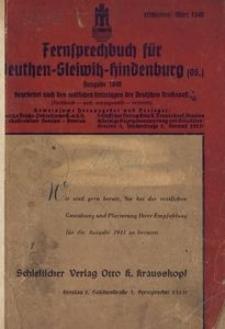 Fernsprechbuch für Beuthen-Gleiwitz-Hindenburg (OS.). Ausgabe A