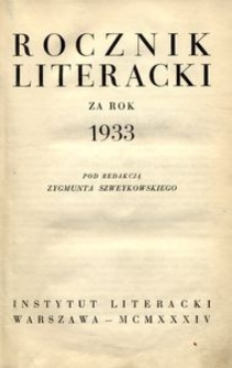Rocznik Literacki za rok 1933